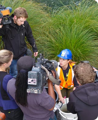 Shelley McMurtrie speaks to reporters on the Banks of the Otakaro/Avon River.